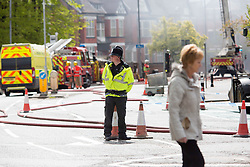 &copy; Licensed to London News Pictures. 26/04/2017. MANCHESTER , UK.  <br /> <br /> Cancer Research UK building at The Christie Hospital on fire today (Wed 26th April 2017). A fire has broken out at  in Withington , Manchester,  at Christie's.<br />   <br /> Photo credit: CHRIS BULL/LNP