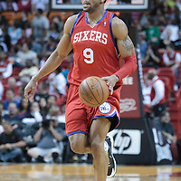 14 March 2010: Philadelphia 76ers guard Andre Iguodala brings the ball upcourt during the Miami Heat 100-89 victory over the Philadelphia 76ers at the AmericanAirlines  Arena, in Miami, Florida, USA.