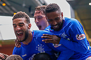 Goal! - Connor Goldson, Nikola Katic & Jermain Defoe of Rangers FC celebrate their 2nd goal of the game during the Ladbrokes Scottish Premiership match between Rangers and Aberdeen at Ibrox, Glasgow, Scotland on 27 April 2019.