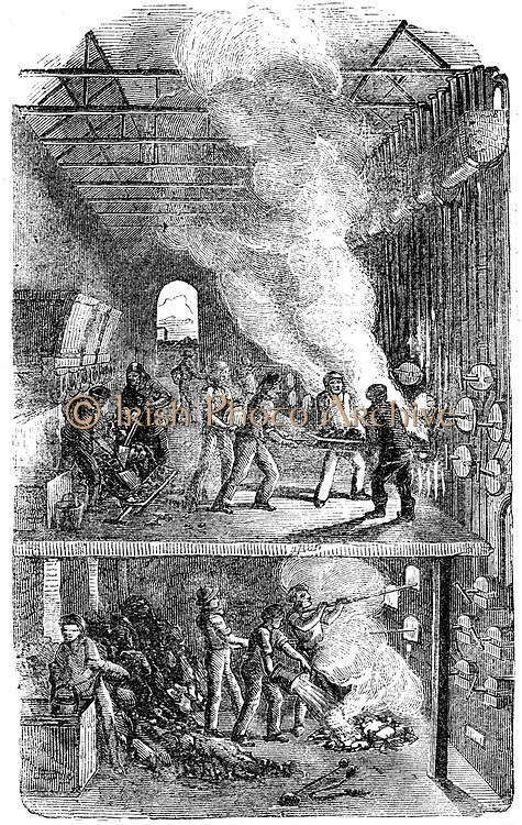 Retort House, Great Central Gas Works, Bow Common, London. It was here that Croll introduced the burning of incandescent coke as fuel immediately it had be taken from retorts. 10% saving. Wood engraving, 1866