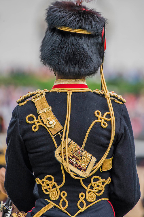 An officer of Kings Troop Royal Horse artillery - Colonel's Review 2018, the last formal inspection of the Household Division before The Queen's Birthday Parade, more popularly known as Trooping the Colour. The Coldstream Guards Troop Their Colour and their Regimental Colonel, Lieutenant General Sir James Jeffrey Corfield Bucknall, takes the salute.