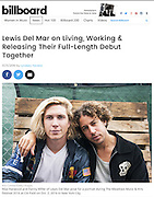 Max Harwood and Danny Miller of Lewis Del Mar, Billboard.com, 2016