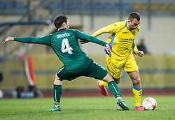 Miha Drnovsek of Krka vs Ivan Firer of Domzale during football match between NK Domzale and NK Krka in Semifinal of Slovenian Football Cup 2016/17, on April 4, 2017 in Sports park Domzale, Slovenia. Photo by Vid Ponikvar / Sportida