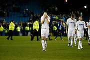 Disappointed Leeds United defender Luke Ayling (2) at full time during the EFL Sky Bet Championship match between Sheffield Wednesday and Leeds United at Hillsborough, Sheffield, England on 28 September 2018.