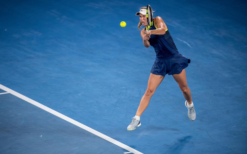 Caroline Wozniacki of Denmark on day nine of the 2018 Australian Open in Melbourne Australia on Tuesday January 23, 2018.<br /> (Ben Solomon/Tennis Australia)