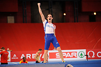 ATHLETICS - INDOOR EUROPEAN CHAMPIONSHIPS PARIS-BERCY 2011 - FRANCE - DAY 2 - 05/03/2011 - PHOTO : JULIEN CROSNIER / DPPI -<br /> MEN'S POLE VAULT - FINALE - WINNER - GOLD MEDAL - NEW WORLD RECORD 6M03 - RENAUD LAVILLENIE (FRA)