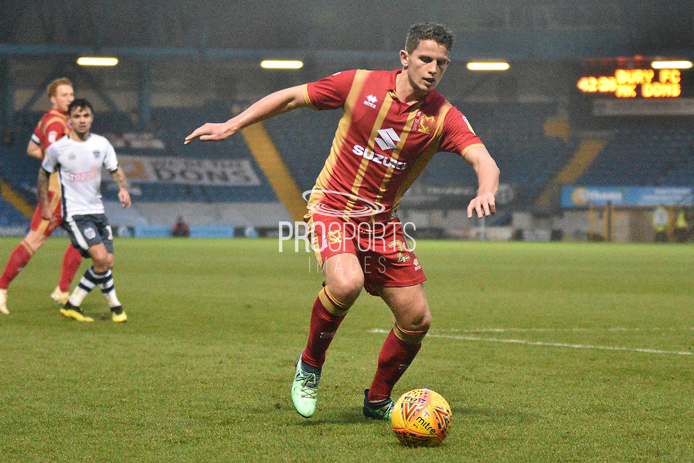 Milton Keynes Dons Midfielder, Jordan Houghton (24)  during the EFL Sky Bet League 2 match between Bury and Milton Keynes Dons at the JD Stadium, Bury, England on 12 January 2019.