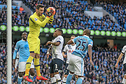 Hugo Lloris (Tottenham Hotspur) makes a save during the Barclays Premier League match between Manchester City and Tottenham Hotspur at the Etihad Stadium, Manchester, England on 14 February 2016. Photo by Mark P Doherty.