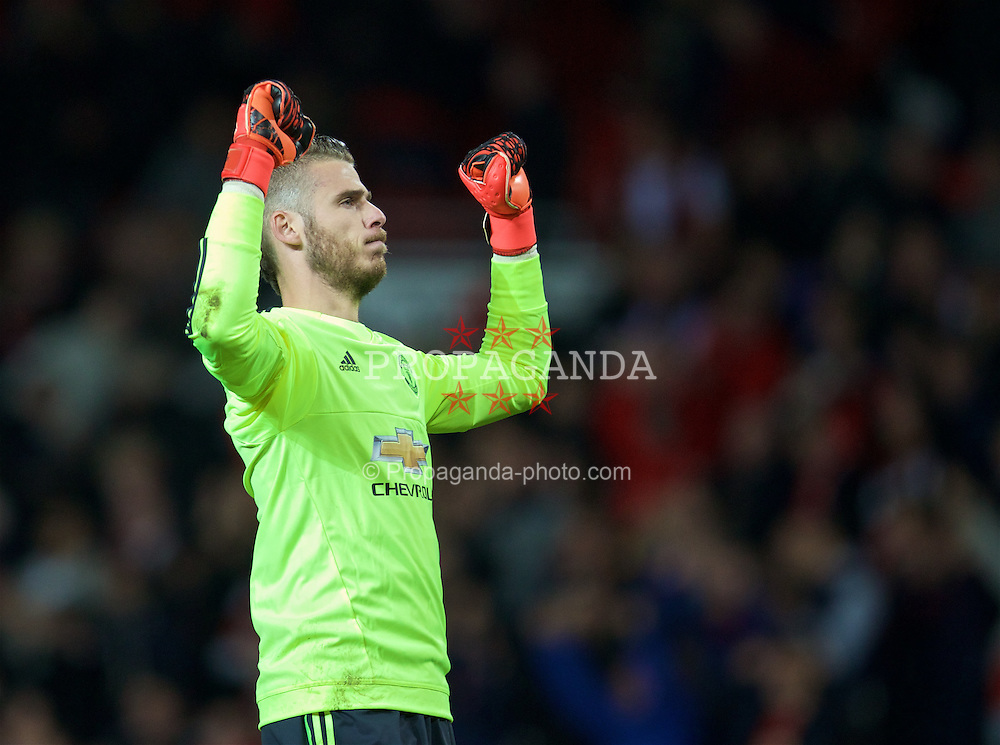 MANCHESTER, ENGLAND - Wednesday, September 30, 2015: Manchester United's goalkeeper David de Gea celebrates his side's 2-1 victory over VfL Wolfsburg during the UEFA Champions League Group B match at Old Trafford. (Pic by David Rawcliffe/Propaganda)