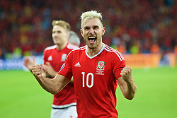 LILLE, FRANCE - Friday, July 1, 2016: Wales' Aaron Ramsey celebrates the 3-1 victory over Belgium after the UEFA Euro 2016 Championship Quarter-Final match at the Stade Pierre Mauroy. (Pic by Paul Greenwood/Propaganda)