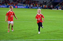 LILLE, FRANCE - Friday, July 1, 2016: David Vaughan's daughter on the pitch after the 3-1 victory over Belgium the UEFA Euro 2016 Championship Quarter-Final match at the Stade Pierre Mauroy. (Pic by David Rawcliffe/Propaganda)
