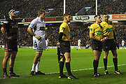 Captains and officials review play on the big screen during the Guinness Pro 14 2017_18 match between Edinburgh Rugby and Glasgow Warriors at Murrayfield, Edinburgh, Scotland on 23 December 2017. Photo by Kevin Murray.