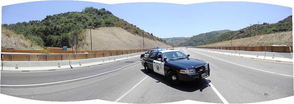 An empty 405 freeway during Carmageddon. Panographic image.