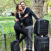 A romantic couple selfies at St James park on 23 April 2019, London, UK.