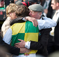 LIVERPOOL, ENGLAND, Saturday, April 9, 2011: Jason Maguire celebrates with owner Trevor Hemmings after winning the 2011 Grand National riding Ballabriggs during Day Three of the Aintree Grand National Festival at Aintree Racecourse. (Photo by David Tickle/Propaganda)