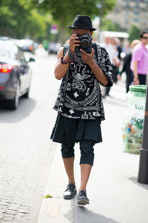 Photographer in a Kilt and Leggings, Outside Christian Dior - Nabile Quenum