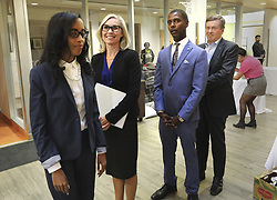 October 1, 2018 - Toronto, ON, Canada - TORONTO, ON - October 1     The 4 candidates line up to walk into the hall..A Mayoral debate was held by Black Vote Canada in Scarborough and featured mayoral candidates,  John Tory, Jennifer Keesmaat, Saron Gebresellassi, Knia Singh..October 1, 2018 Richard Lautens/Toronto Star (Credit Image: © Richard Lautens/The Toronto Star via ZUMA Wire)