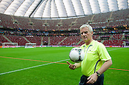 "Former President of Polish Football Association Michal Listkiewicz before demonstration match of the Special Olympics as part of the Respect Inclusion ""Football With No Limits"" before the UEFA EURO 2012 Quarterfinal football match between Portugal and Czech Republic at National Stadium in Warsaw on June 21, 2012...Poland, Warsaw, June 21, 2012..Picture also available in RAW (NEF) or TIFF format on special request...For editorial use only. Any commercial or promotional use requires permission...Photo by © Adam Nurkiewicz / Mediasport"