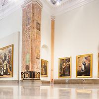Visitors in the room V (Sevillian Baroque), Museum of Fine Arts, Seville, Spain.