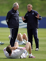 Photo: Paul Thomas.<br /> England Training Session. 01/06/2006.<br /> <br /> Sven Goran Eriksson (L) and Steve Maclean talk with David Beckham in the foreground.