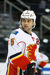 Feb 8, 2012; San Jose, CA, USA; Calgary Flames defenseman Mark Giordano (5) warms up before the game against the San Jose Sharks at HP Pavilion. Calgary defeated San Jose 4-3. Mandatory Credit: Jason O. Watson-US PRESSWIRE