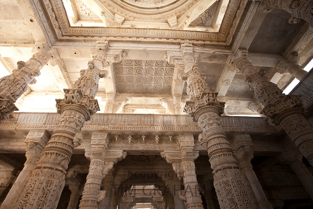 White marble pillars and ceiling at The Ranakpur Jain Temple at Desuri Tehsil in Pali District of Rajasthan, Western India
