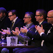 Left to right Jeff Phillips, Cullen Moss, Steve Rassin, Sam Robison, and J.R. Rodriguez applaud a speech Sunday March 8, 2015 during A Roast of John Staton, a benefit for Susan Auten at TheatreNOW in Wilmington, N.C. (Jason A. Frizzelle)