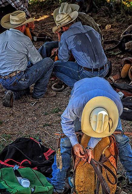 Rodeo Cowboys prepare for their event under sweltering temps in Burwell, Nebraska. Photo by accomplished Lincoln Nebraska Sports Photographer Barry A Mosley.