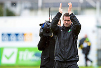 16/07/14 UEFA CHAMPIONS LEAGUE 2ND RND QUALIFIER<br /> KR REYKJAVIK v CELTIC<br /> KR-VOLLUR STADIUM - REYKJAVIK<br /> Celtic manager Ronny Deila applauds the fans at full-time