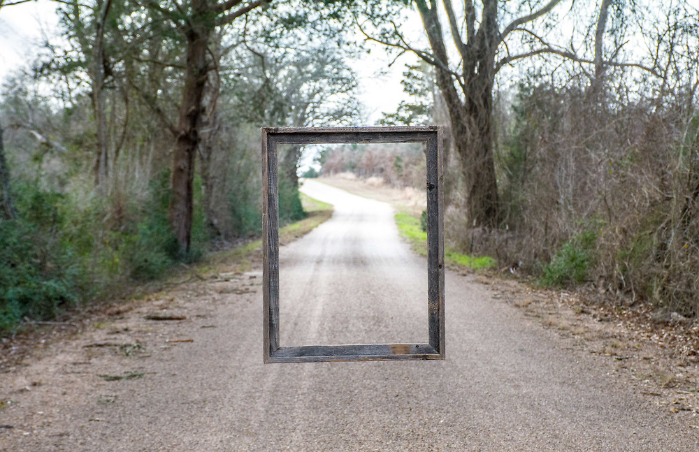 An aged wooden frame was suspended from a branch over Boulton Creek Road. It is used to symbolize the Passage by my family many times on this road.