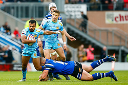 Tom O'Flaherty of Exeter Chiefs is tackled by Max Lahiff of Bath Rugby - Mandatory by-line: Ryan Hiscott/JMP - 03/11/2018 - RUGBY - Sandy Park Stadium - Exeter, England - Exeter Chiefs v Bath Rugby - Premiership Rugby Cup