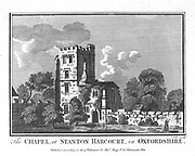 Alexander Pope (1688-1744) English poet. Chapel and Pope's Tower at Staton Harcurt, Oxfordshire. Copperplate engraving.