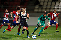 Atletico de Madrid´s Maria Leon and Gallardo and Olympique Lyonnais´s Le Sommer during UEFA Women´s Champions League soccer match between Atletico de Madrid and Olympique Lyonnais, in Madrid, Spain. November 11, 2015. (ALTERPHOTOS/Victor Blanco)