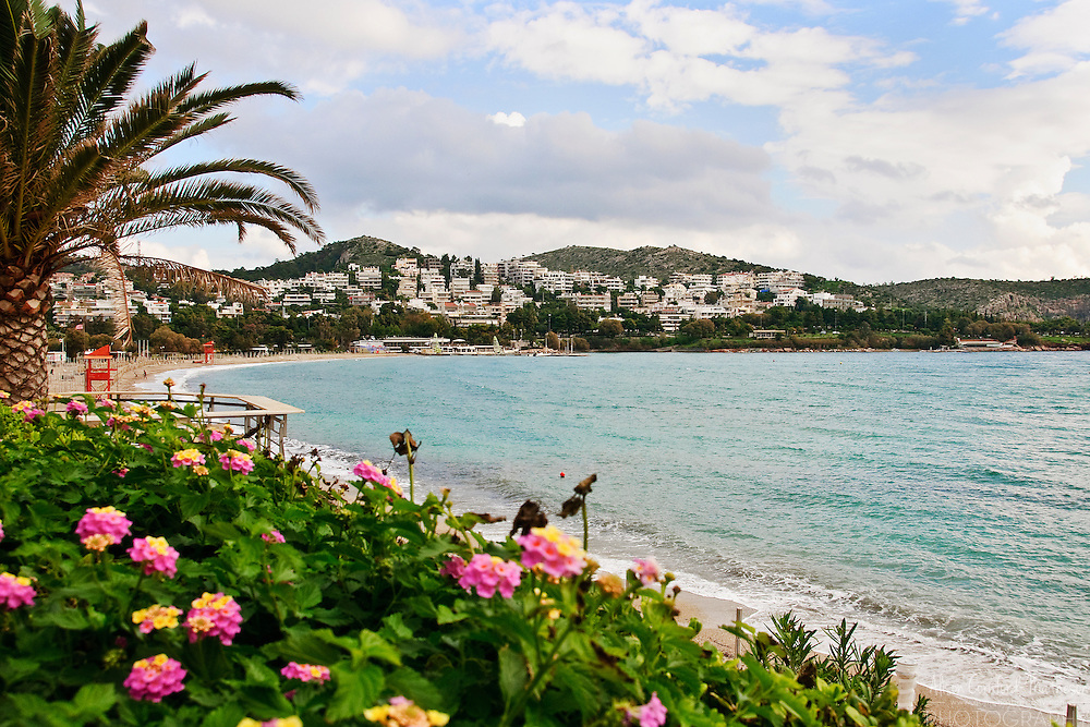 The beach town of Vouliagmeni, is a popular tourist destination near Athens, Greece.