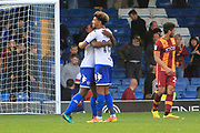 Bury defender Greg Leigh (3) embraces Bury midfielder Josh Laurent (18) during the EFL Sky Bet League 1 match between Bury and Bradford City at the Energy Check Stadium at Gigg Lane, Bury, England on 14 October 2017. Photo by Richard Holmes.