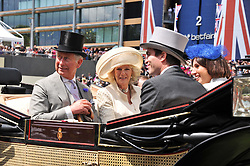 HRH THE PRINCE OF WALES and HRH THE DUCHESS OF CORNWALL at day 1 of the Royal Ascot Racing Festival 2012 held on 19th June 2012.