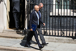 London, UK. 23 July, 2019. Sajid Javid MP, Secretary of State for the Home Department, leaves 10 Downing Street following the final Cabinet meeting of Theresa May's Premiership. The name of the new Conservative Party Leader, and so the new Prime Minister, is to be announced at a special event afterwards.