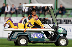 Miral Samardzic of Maribor injured at 13th Round of Prva Liga football match between NK Olimpija and Maribor, on October 17, 2009, in ZAK Stadium, Ljubljana. Maribor won 1:0. (Photo by Vid Ponikvar / Sportida)
