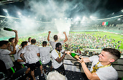 Nik Kapun of NK Olimpija Ljubljana and other Players of Olimpija celebrate at trophy ceremony after winning during football match between NK Aluminij and NK Olimpija Ljubljana in the Final of Slovenian Football Cup 2017/18, on May 30, 2018 in SRC Stozice, Ljubljana, Slovenia. Photo by Vid Ponikvar / Sportida