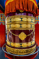 Prayer wheel, Karu, Ladakh, Jammu and Kashmir State, India.