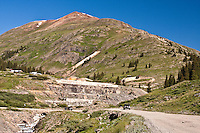Road leading to the historic mining town of Animas Forks, San Juan Mountains, Colorado.