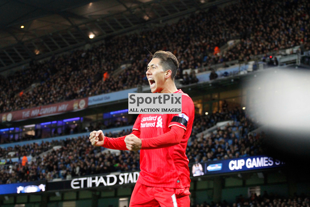Roberto Firmino celebrates Sanga's own goal during Manchester City vs Liverpool, Barclays Premier League, Saturday 21st November 2015, Etihad Stadium, Manchester