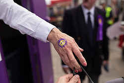 © Licensed to London News Pictures . 02/06/2014 . Newark , Nottinghamshire , UK . UKIP supporters in Market Square , Newark , today (Monday 2nd June 2014), ahead of the by-election due to take place on Thursday (5th June 2014) . Photo credit : Joel Goodman/LNP