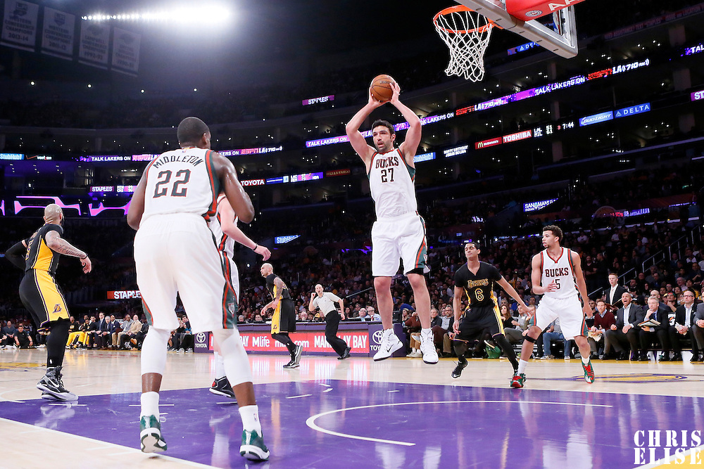 27 February 2015: Milwaukee Bucks center Zaza Pachulia (27) grabs the rebound during the Los Angeles Lakers 101-93 victory over the Milwaukee Bucks, at the Staples Center, Los Angeles, California, USA.