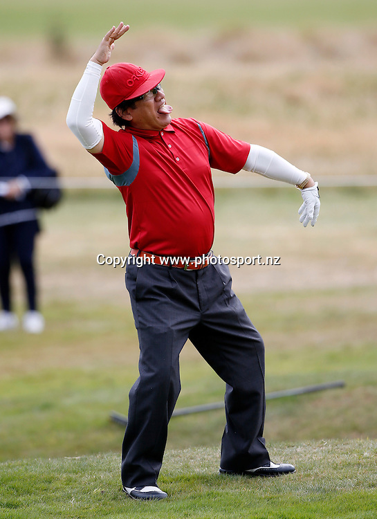Dr Haruhisa Handa during round three of the 2016 BMW ISPS Handa New Zealand Open, The Hills, Arrowtown, New Zealand.12 March 2016. Photo by Michael Thomas/www.photosport.nz
