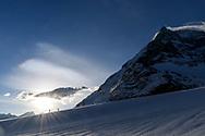 The Matterhorn and two alpinists on the Zmuttgletscher, Valais, Switzerland