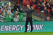 Manchester City manager Pep Guardiola shows his frustration during the Carabao Cup Final match between Chelsea and Manchester City at Wembley Stadium, London, England on 24 February 2019.