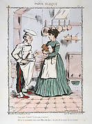 Franco-Prussian War 1870-1871: Siege of Paris 19 Sept 1870-28 Jan 1871. Chef trying to reassure woman that he was not suggesting cooking her pet. From 'Paris Bloque', Faustin Betbeder.  France Germany Food Shortage Hunger