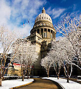 Idaho, Boise.  The Idaho State Capitol dusted with snow on a winter morning.
