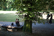 "A young couple and other visitors are spending their freetime on a Saturday afternoon at the ""Deer Moat (Jelenni prikop)""."